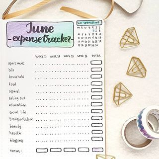 A one page Bullet Journal Monthly expense tracker | WildflowersandWanderlust.com