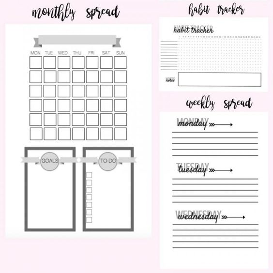 Ambitious image pertaining to bullet journal monthly spread printable
