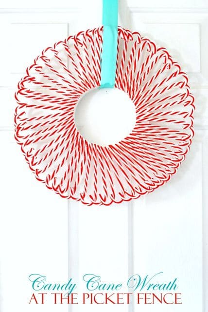 Candy Cane Wreath by At the Picket Fence