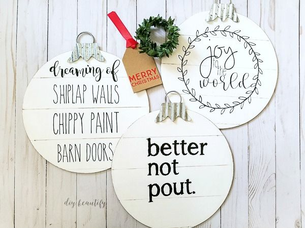 Shiplap Ornaments by DIY Beautify
