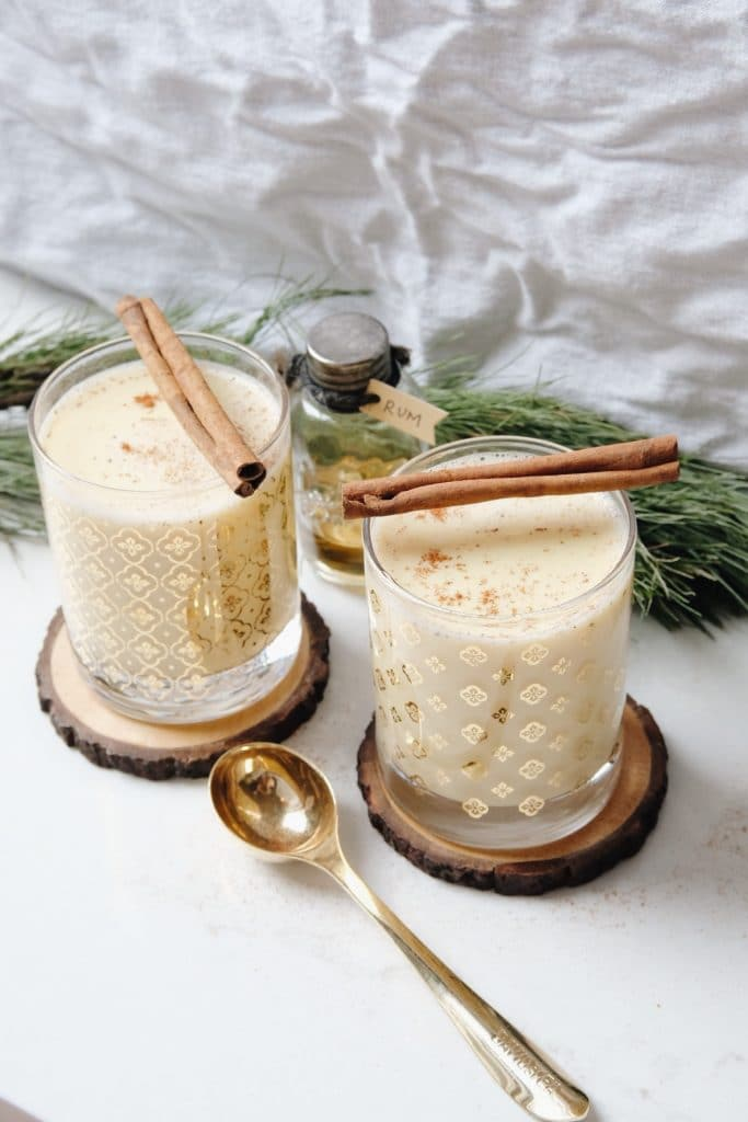 Homemade Eggnog Recipe by Lark & Linen featured on WildflowersAndWanderlust.com