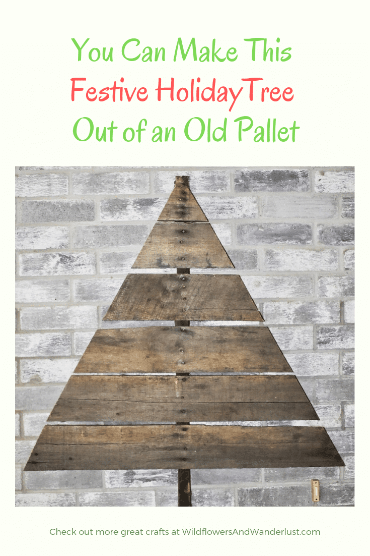 How to Easily Make a Christmas Tree out of an old pallet - step by step guide! WildflowersAndWanderlust.com