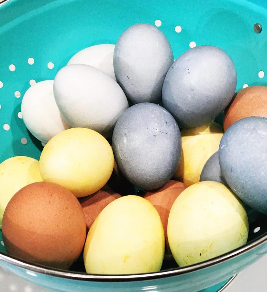 Natural Dye Easter Eggs made with blueberry and turmeric | WildflowersAndWanderlust.com