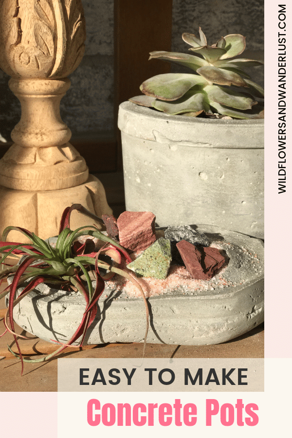 We've got some easy to make concrete planters that are perfect for your succulents | WildflowersAndWanderlust.com