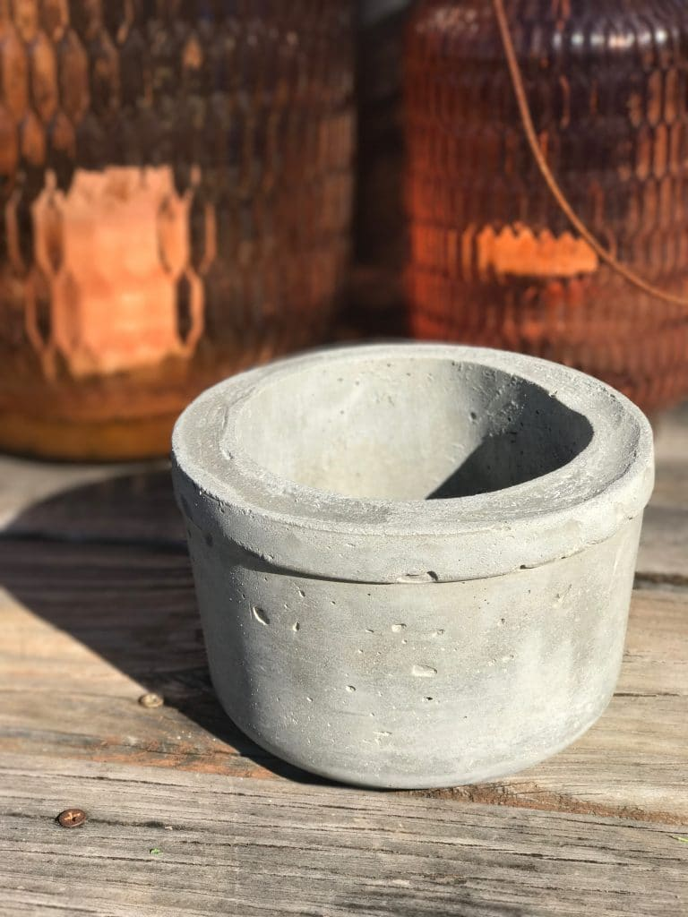 What one of our finished DIY concrete pots looks like right out of its mold | WildflowersAndWanderlust.com