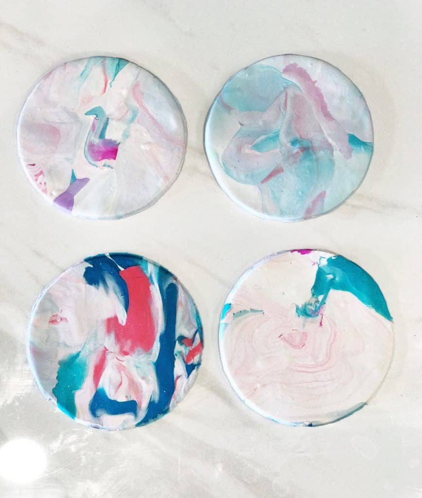 Make Your Own Marble Clay Coasters | WildflowersAndWanderlust.com