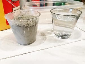 Cement and Water to mix for DIY Concrete Pots | WildflowersAndWanderlust.com