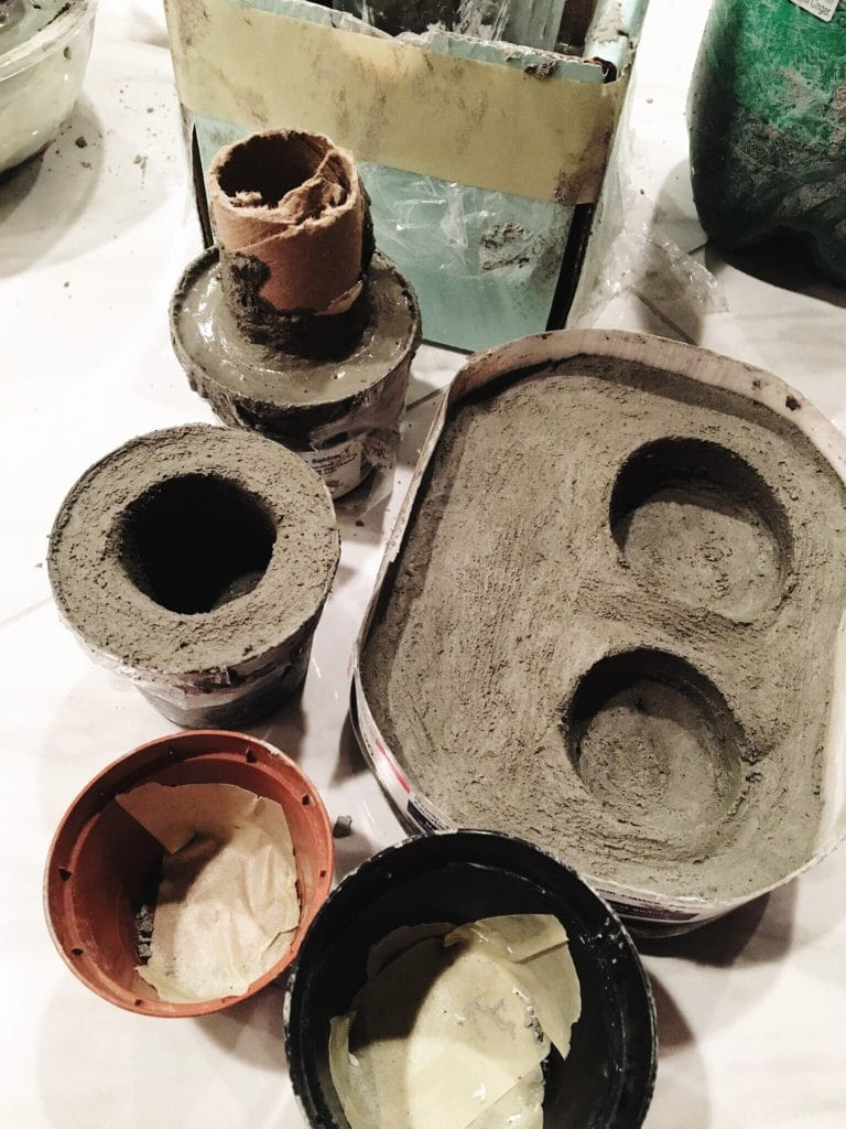 One step in our concrete pots - waiting for the concrete to dry | WildflowersAndWanderlust.com