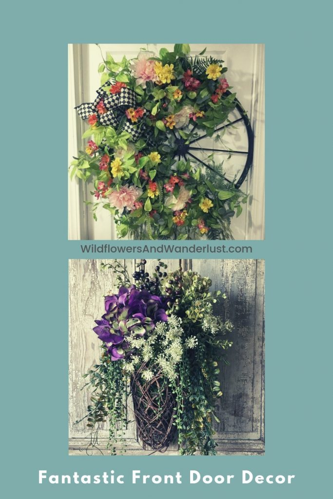 Use unexpected objects for a wreath on your front door.  Great front door decor ideas and unusual entryway decor  WildflowersAndWanderlust.com