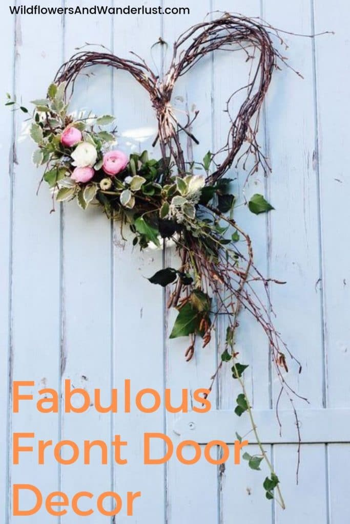 Ideas for your front door to make it look fantastic.  Wreaths and other unique finds to decorate your entry  WildflowersAndWanderlust.com