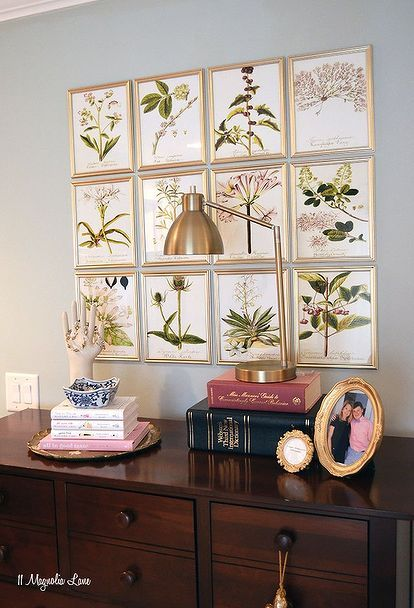 A grid of frames is a great way to display vintage art as shown by HomeTalk and featured on WilflowersAndWanderlust.co