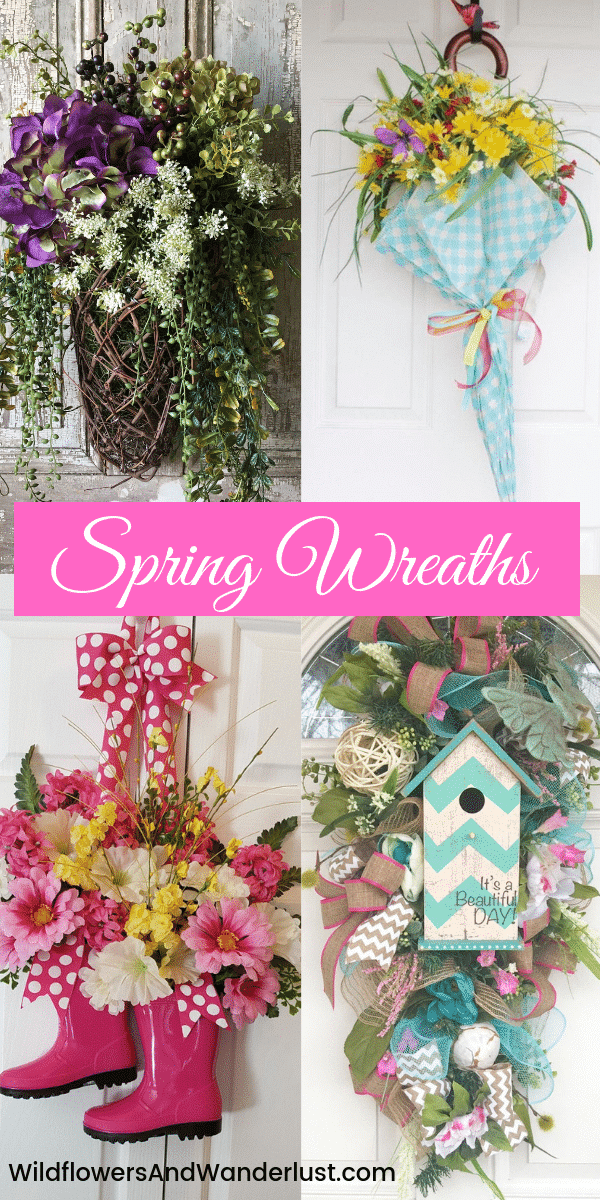 Spring Wreaths for Front Door Decor | WildflowersAndWanderlust.com