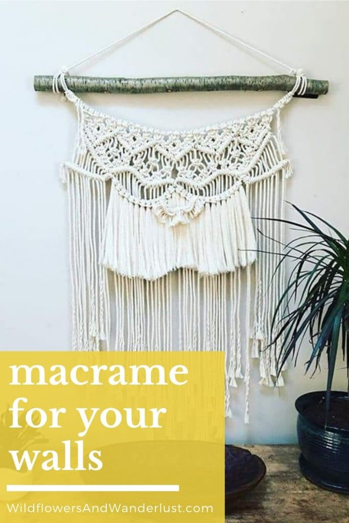 Gorgeous neutral macrame for your walls that you can DIY. Or you can pick up a ready to hang wall macrame and embellish it with some leftover pieces from another DIY WildflowersAndWanderlust.com
