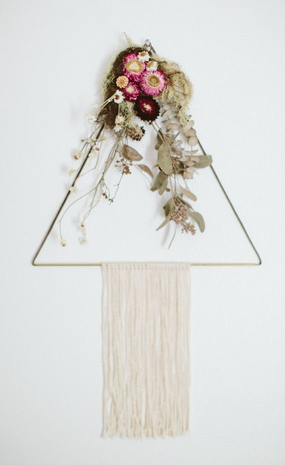 Triangle Macrame Hanging with Floral Embellishment | WildflowersAndWanderlust.com
