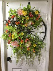 A wheel is a beautiful base for a spring wreath | WildflowersAndWanderlust.com