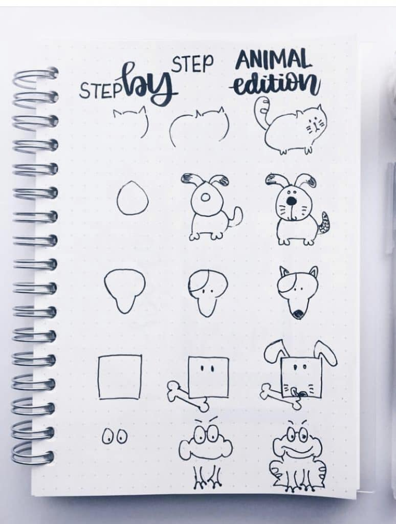 How to Draw Animal Doodles by @study.duoo featured on WildflowersAndWanderlust.com