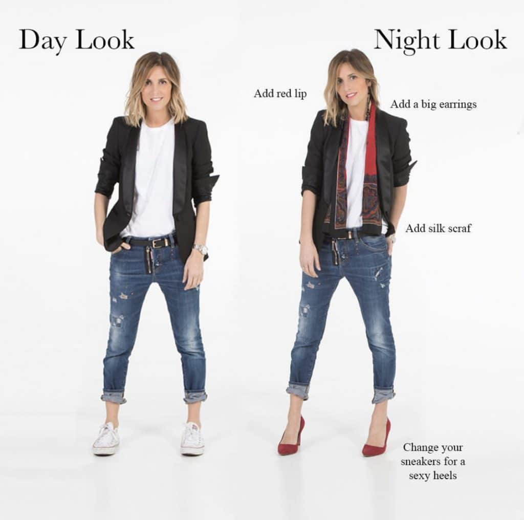 Take Your Capsule Wardrobe from Day to Night by Accessorizing via @emquedabe featured on WildflowersAndWanderlust.com