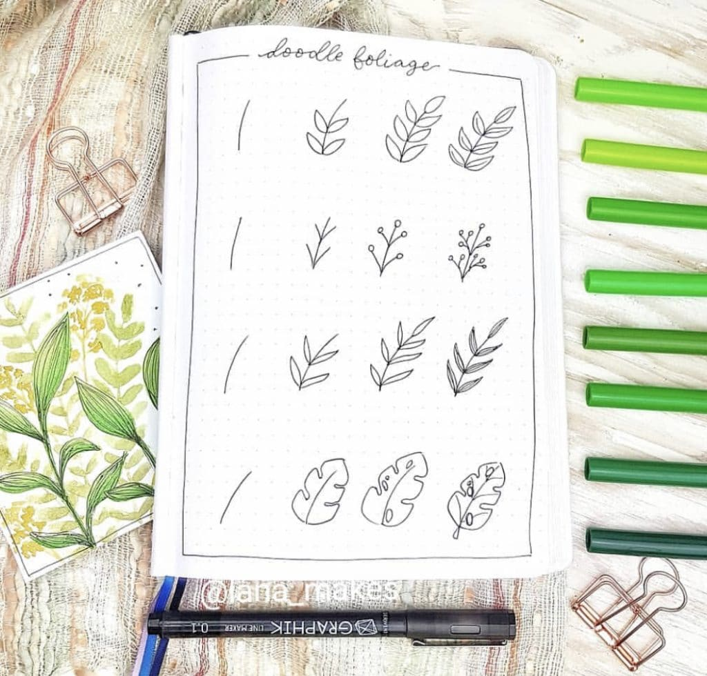 How to Doodle a Leaf via @lana_makes featured on WildflowersAndWanderlust.com