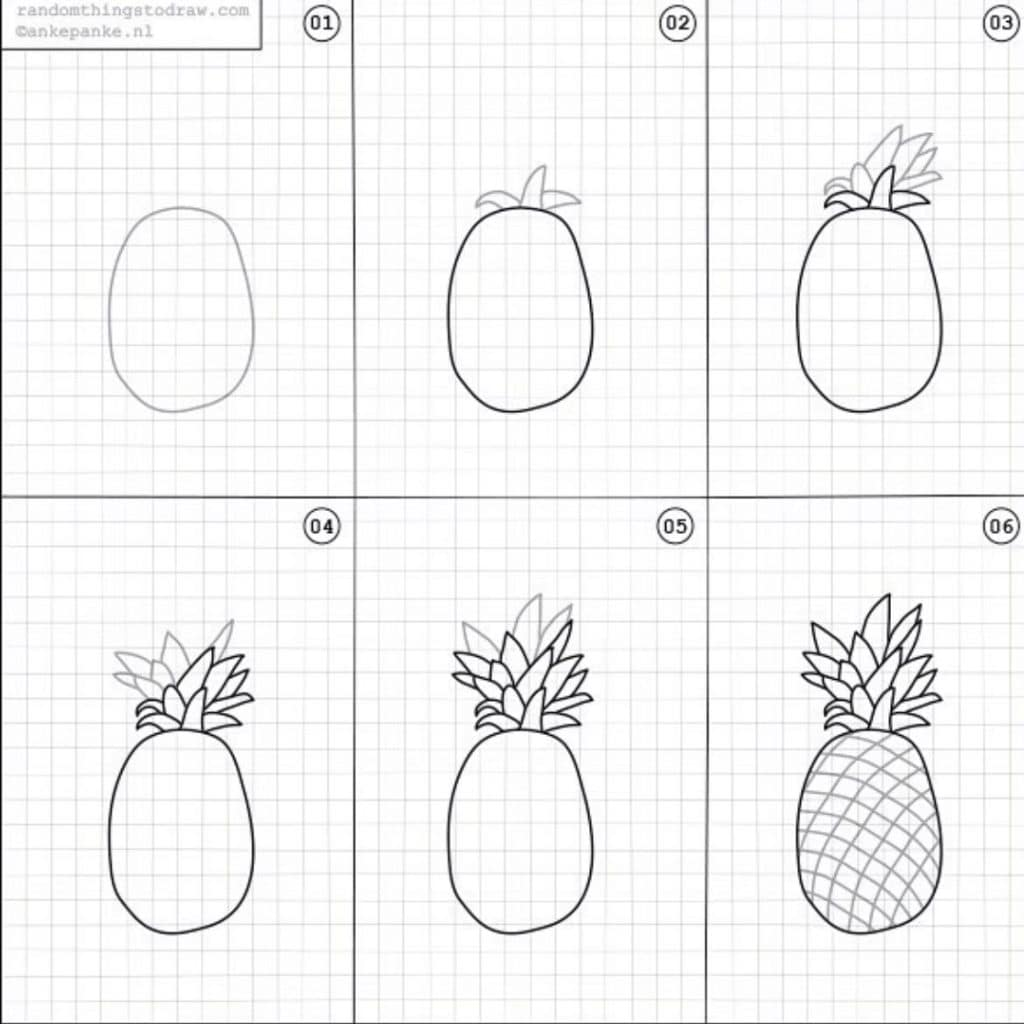 How to Draw a Pineapple by @rttdraw featured on WildflowersAndWanderlust.com
