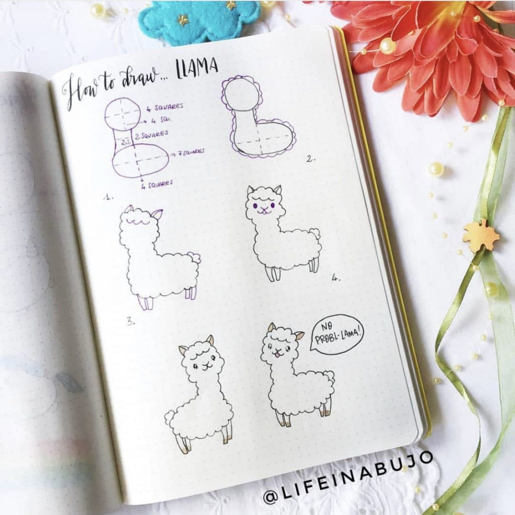 How to Doodle a Llama by @lifeinabujo featured on WildflowersAndWanderlust.com