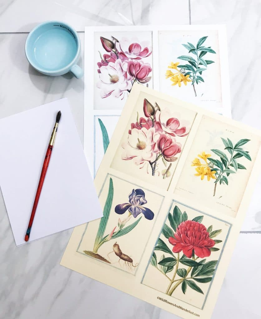 You only need a few supplies to make torn paper greeting cards using our free printable | WildflowersAndWanderlust.com