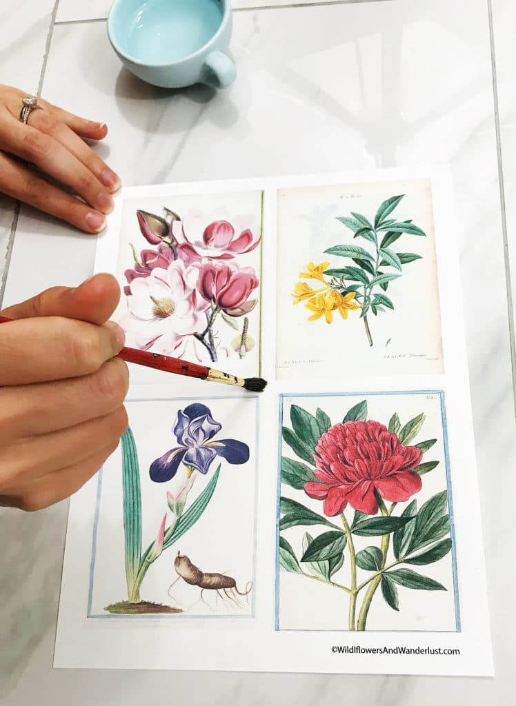 Use a paintbrush to create a water guide for tearing paper, or creating a deckle edge | WildflowersAndWanderlust.com