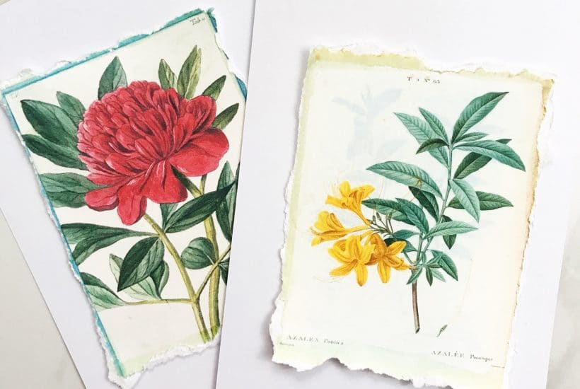 Make these beautiful torn paper greeting cards with our free printable | WildflowersAndWanderlust.com