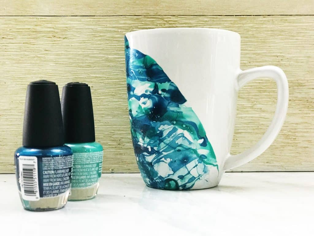 Two Shades of Blue DIY Nail Polish Marble Mug | WildflowersAndWanderlust.com
