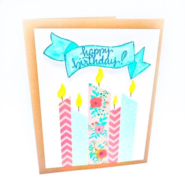 A Washi tape birthday card by @thepaintedpearl featured on WildflowersAndWanderlust.com