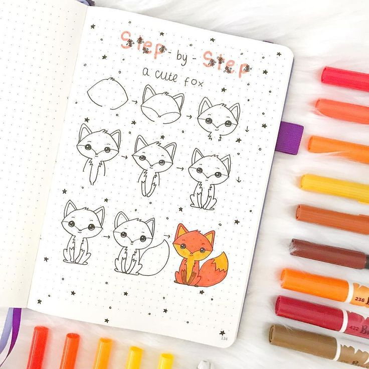 Step by Step How to Draw A Cute Fox by @notebook_therapy featured on WildflowersAndWanderlust.com