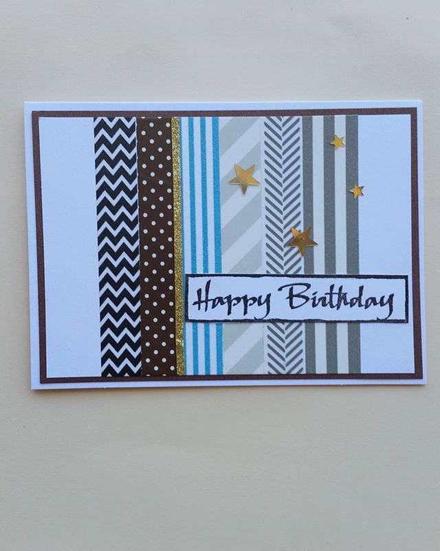 A masculine washi tape Birthday Card by @robinsrainbowbrisbane featured on WildflowersAndWanderlust.com