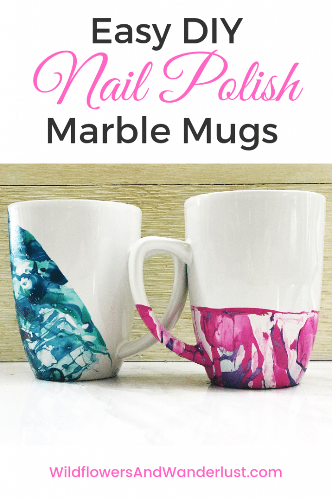 How to Make DIY Nail Polish Marble Mugs. This is an easy and inexpensive project WildflowersAndWanderlust.com