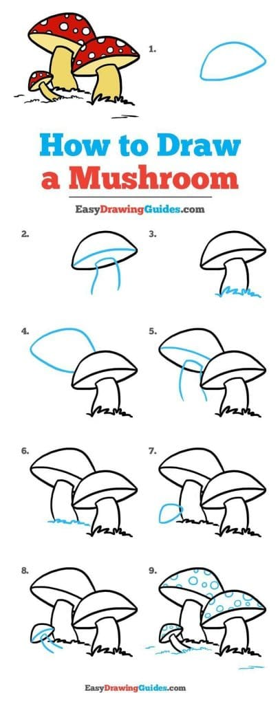 How to Draw a Mushroom Doodle by EasyDrawingGuides.com featured on WildflowersAndWanderlust.com