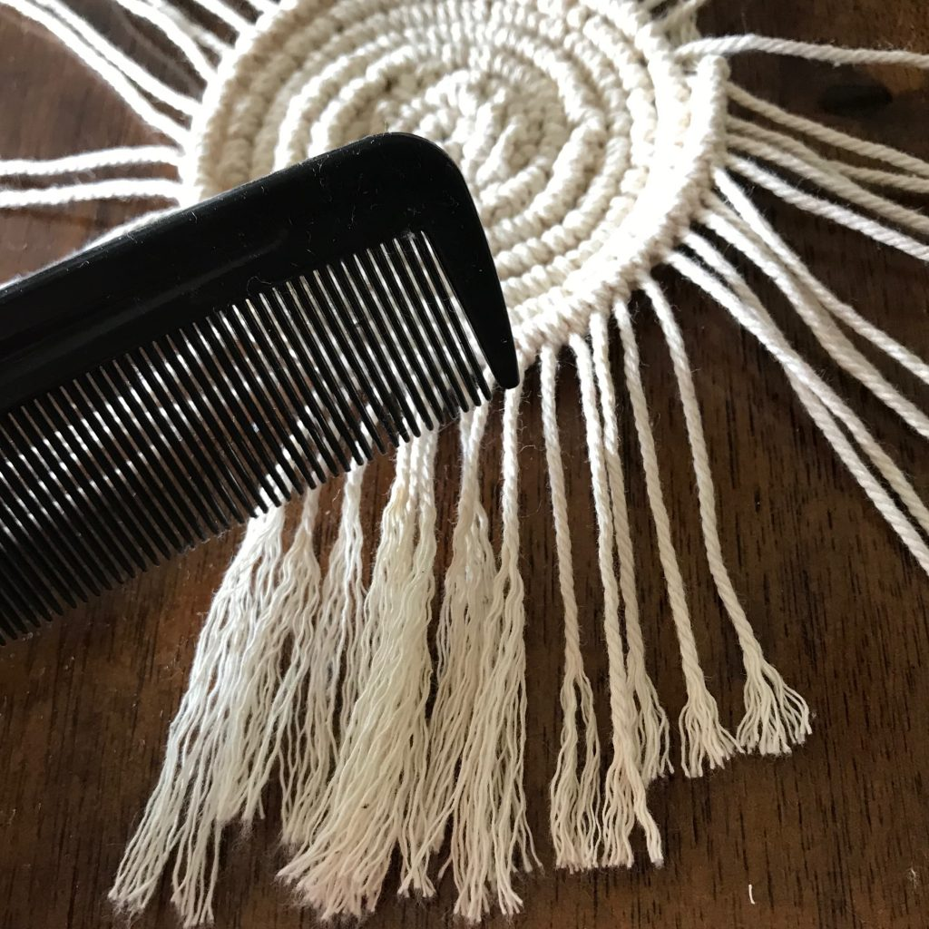Use a comb on your macrame cord to give it a fringed appearance | WildflowersAndWanderlust.com