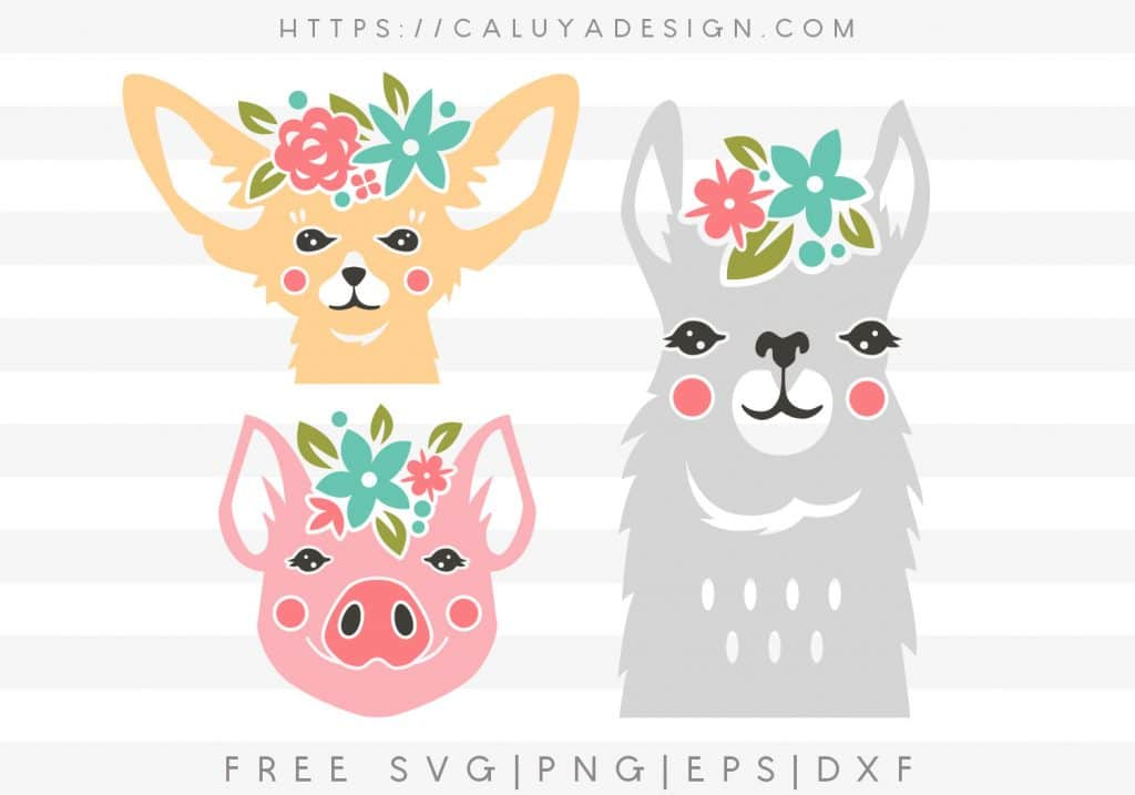 Floral Crown Animals Free SVG Download by Caluya Design featured on WildflowersAndWanderlust.com
