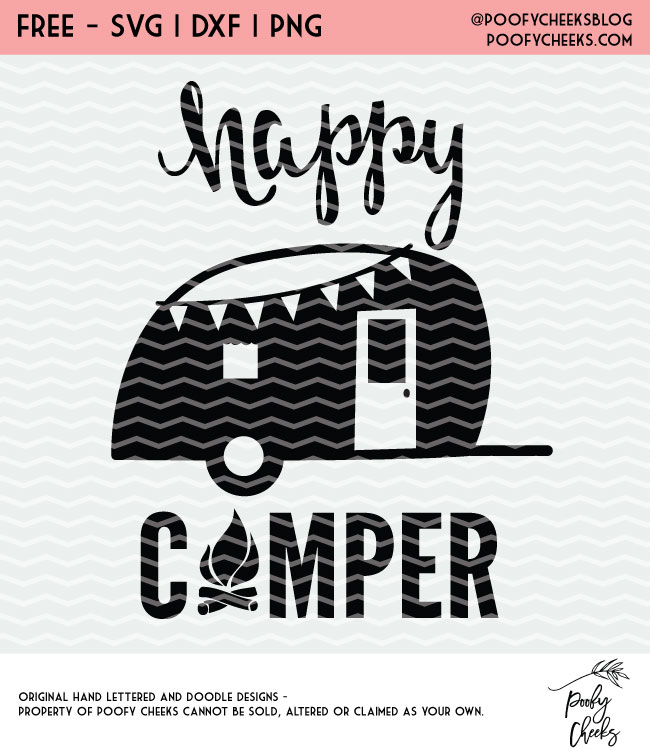 Happy Camper free SVG file download by Poofy Cheeks featured on WildflowersAndWanderlust.com