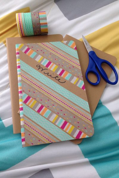 It only takes a few minutes to decorate a notebook with washi tape and give it a whole new look | WildflowersAndWanderlust.com