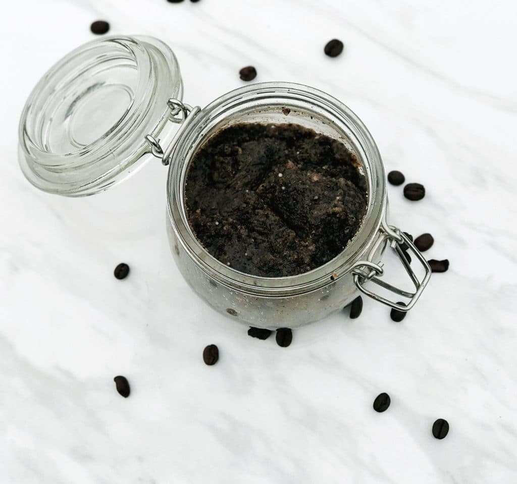 Homemade Coffee Body Scrub is quick and easy to make and you can use your coffee grounds from your morning pot of coffee | WildflowersAndWanderlust.com