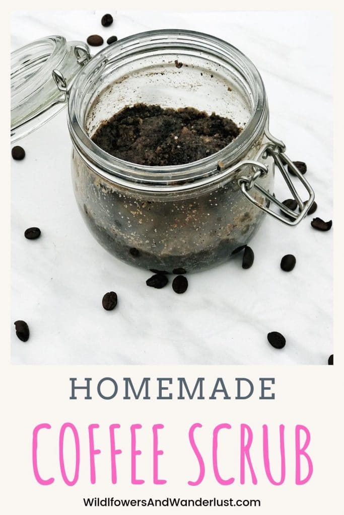 Homemade Coffee Body Scrub is a great way to exfoliate your skin and reduce the appearance of cellulite | WildflowersAndWanderlust.com