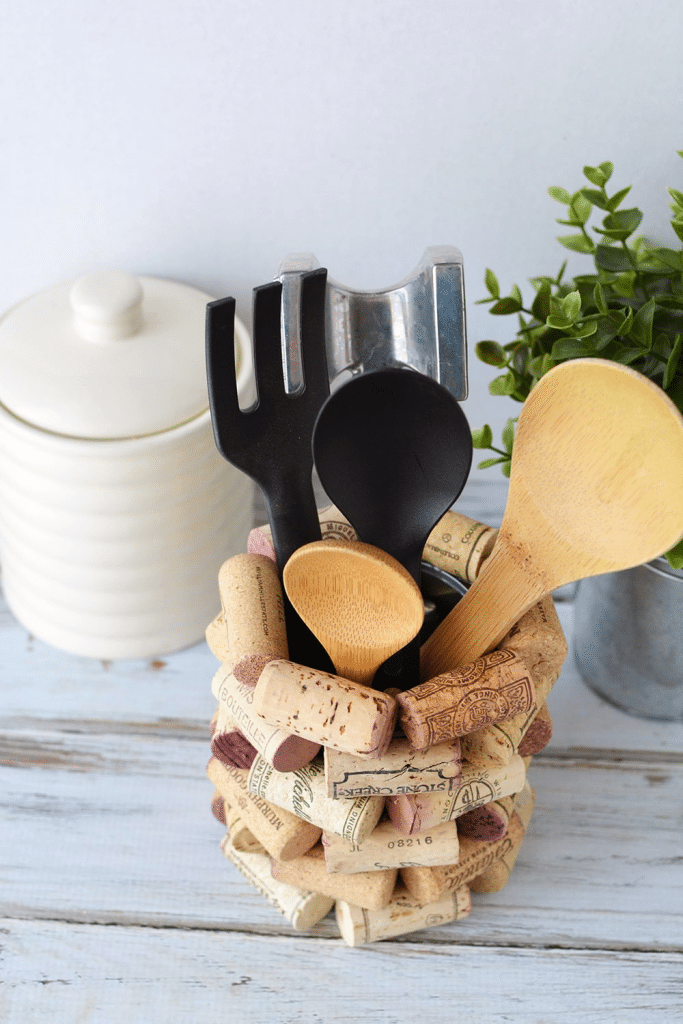A wine cork Utensil Holder - Craft Items that You can Make and Sell for profit - great ideas for craft shows! WildflowersAndWanderlust.com