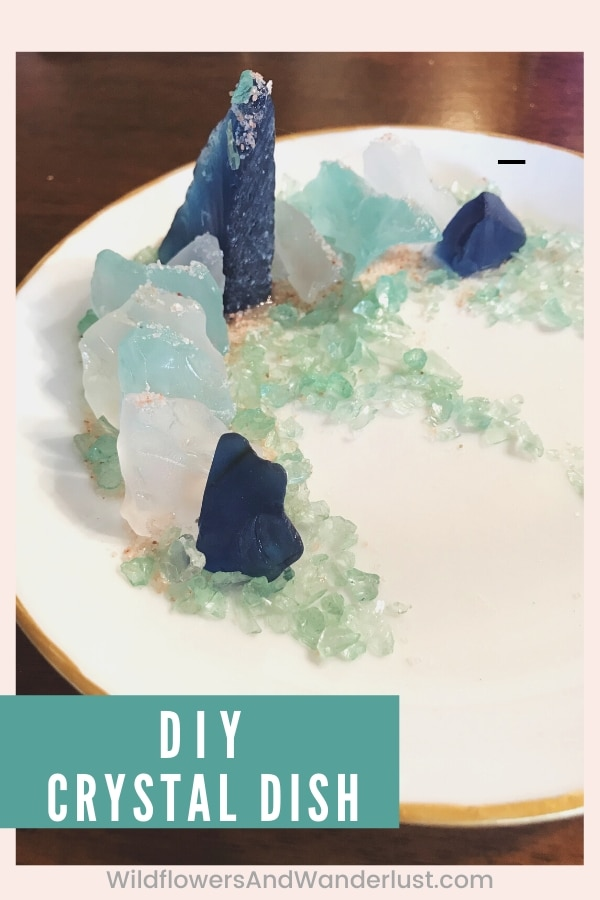 Here's an easy to make faux crystal dish - you won't believe what we used instead of crystals for a bargain! WildflowersAndWanderlust.com