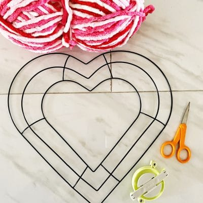 Bright and Easy Heart Shaped Pom Pom Wreath