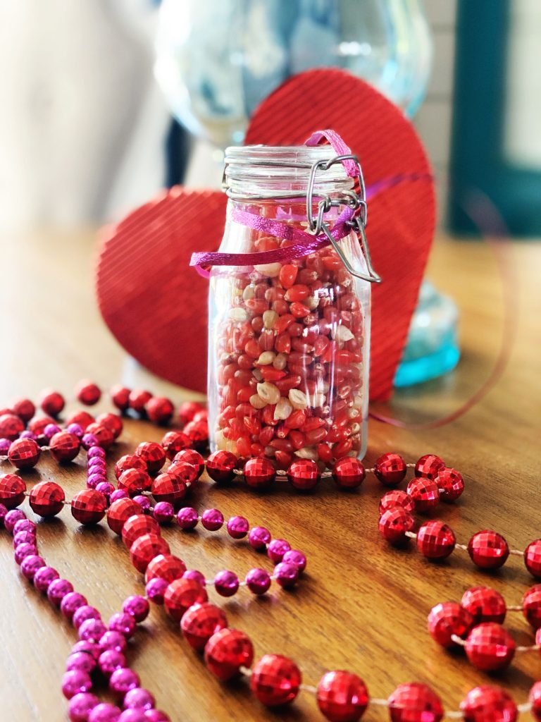 Colored popcorn seeds make a nice gift for Valentine's Day WildflowersAndWanderlust.com