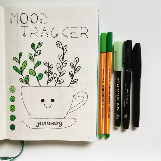 Color in your leaves in happy colors in your bullet journal.