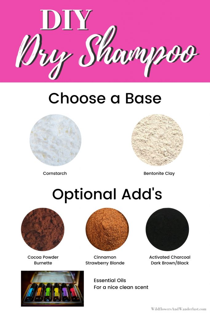 You can easily mix up your own dry shampoo using one or more of the ingredients we recommend WildflowersAndWanderlust.com