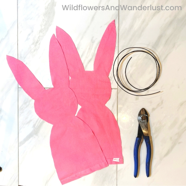 Once you have your bunny shape cut out it's time to start assembling it.  WildflowersAndWanderlust.com