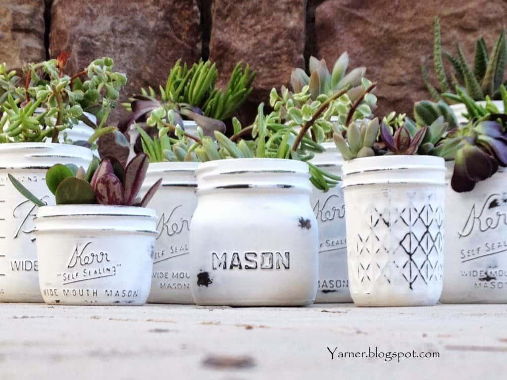 Mason Jar Succulent Planters via Yarner