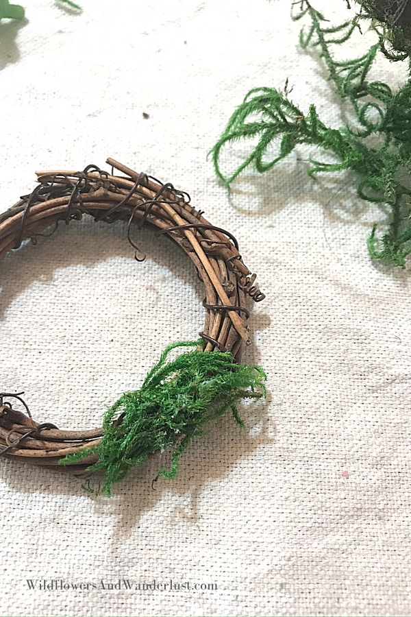Put the first layer of moss onto your wreath with some hot glue and then you can keep adding.