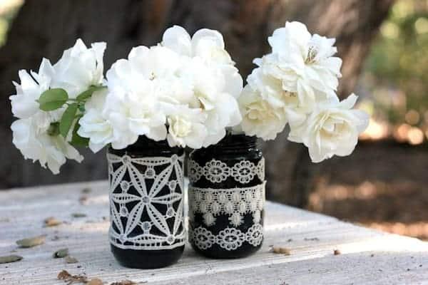 Lace Mason Jars via modpodgerocksblog