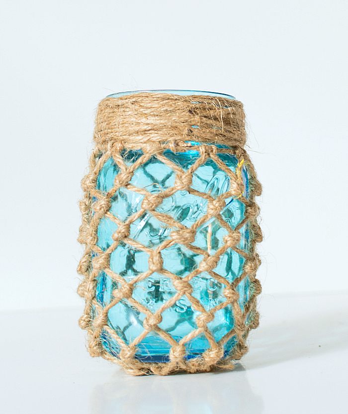 Fishnet wrapped mason jar via It All Started with Paint